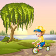 Stock Vector: A little boy biking