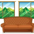 A sofa near the window — Stock Vector