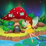 A fairy flying near the red mushroom house — Stock Vector #28832325