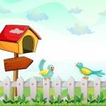 A bird house with an arrow board and birds above the fence — Stock Vector #28832415