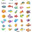 Group of different fishes — Imagen vectorial