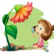 A girl holding a magnifying glass under a flower — Stock Vector