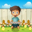 Stock Vector: Boy with empty egg tray and little chicks