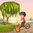 A boy biking  — Stock Vector