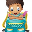 Vector de stock : A boy inside a schoolbag