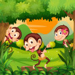 Three monkeys dancing in the forest — Stock Vector