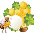 Stock Vector: A bee beside an empty template with green plants