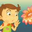 A girl shocked by a giant flower — Stock Vector #28832665