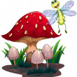 A dragonfly flying beside the mushrooms  — Stock Vector
