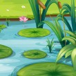Stock Vector: Pond with many plants