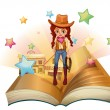 Stock Vector: A book with a pretty cowgirl