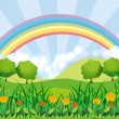 The field and the rainbow — Stock Vector