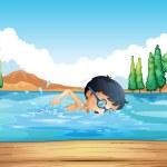 A boy practicing near the diving board — Stock Vector