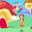 A girl with balloons near the mushroom houses — Stock Vector