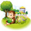 A monkey reading a book near the plants with flowers — Stock Vector #28833495