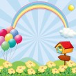 A garden near the hills with balloons, a rainbow and a pet house — Stock Vector