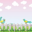 Two birds above the fence — Stock Vector