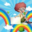 A boy above the rainbow holding an empty board — Stock Vector #28834069