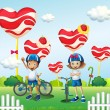 A boy and a girl biking near the giant lollipops — Stock Vector
