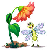 A smiling dragonfly below the giant flower — Stock Vector