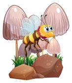 Una abeja cerca de las setas y las rocas — Vector de stock