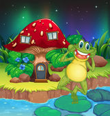 An annoying frog near the red mushroom house — Stock Vector