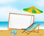 Une plage avec un tableau vide blanc — Vecteur