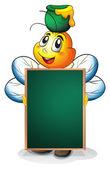 A bee holding a blackboard — Stock Vector