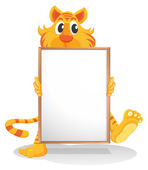 A tiger holding an empty whiteboard — Stock Vector