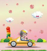 A boy riding on a car — Stock Vector