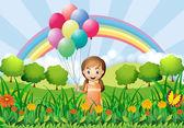 Balonlar ile kız — Stok Vektör