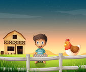 A boy holding an egg tray near the sleeping chicken — Stock Vector