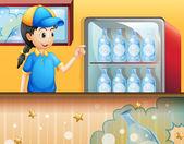 A girl in the soda shop — Stock Vector