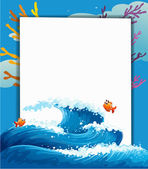 An empty template at the sea with fishes — Stock Vector