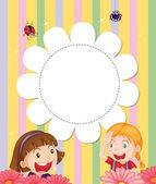 Een briefpapier met twee meisjes op de tuin — Stockvector