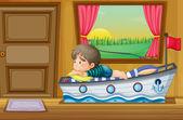 A sad little boy inside the house — Stock Vector
