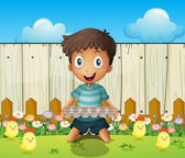 A boy with an empty egg tray and the little chicks — Stock Vector