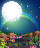 A rainbow during nighttime — Stock Vector