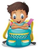 A boy inside a schoolbag — Stock Vector
