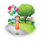 A girl at the road with eight balloons — Stock Vector