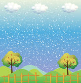Snowflakes at the hills — Stock Vector