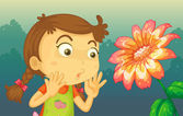 A girl shocked by a giant flower — Stock Vector