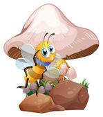 きのこ近くの蜂 — ストックベクタ
