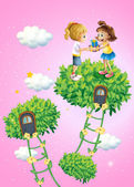 Twee meisjes uitwisselen van geschenken — Stockvector