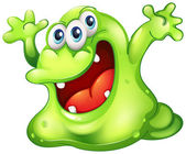 A green slime monster — Stock Vector