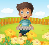 A boy in the garden holding an empty egg tray — Stock Vector