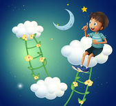 A boy sitting at the cloud — Stock Vector