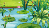 A pond with many plants — Stock Vector
