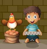 A chicken laying eggs beside the young boy with an egg tray — Stock Vector