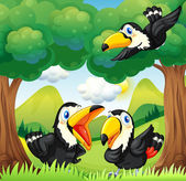 Three black birds at the forest — Stock Vector